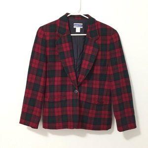 Pendleton Blazer Jacket Red Green Plaid 100% wool